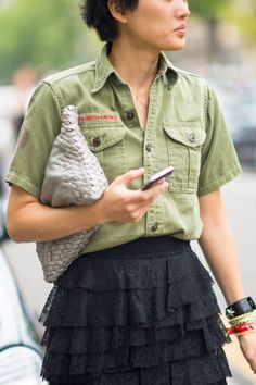A soft leather clutch meets the Boy Scouts #streetstyle