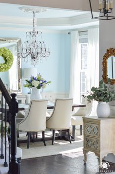 Decked and Styled Spring Home Tour - Kelley Nan- elegant blue dining room
