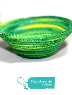 Hand Made Coiled Rope Basket in Variegated Greens and Yellows http://www.amazon.com/dp/B01A7M2A08/ref=hnd_sw_r_pi_dp_xYcJwb0KCD264 #handmadeatamazon