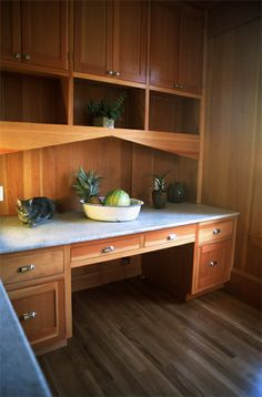 Bungalow remodel. Built-in desk and cabinets. Piedmont, CA. Designed by Kirk E. Peterson & Associates.