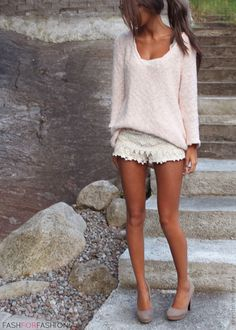 lace shorts and sweater-  come on sunshine!