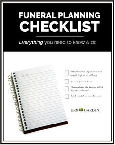 How to Plan a Funeral or Memorial Service. Complete checklist to help with each task -- such useful information to have during hard, emotional decisions!