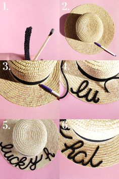>>>Pandora Jewelry OFF! >>>Visit>> DIY Eugenia Kim 'Brigitte' Boater Hat DIY Eugenia Kim Straw Hat DIY summer beach hat perfect for bachelorette parties or destination weddings on www.me-and-mrjone. Trash To Couture, Do It Yourself Fashion, Boater Hat, Diy Hat, Diy Straw Hat, Summer Hats, Toddler Crafts, Sun Hats, Diy Wedding