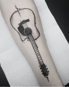 Find the tattoo artist and the perfect inspiration to get your tattoo. - Artist: Marquinho André Tattoo Rio Grande do Sul. Tattoo music = Ah when he shows up here with his - Acoustic Guitar Tattoo, Guitar Tattoo Design, Music Tattoo Designs, Phönix Tattoo, Rune Tattoo, Tattoo Fonts, Mini Tattoos, New Tattoos, Tatoos