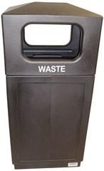 Commercial Outdoor 39 Gallon Trash Can - Brown Square Enclosure