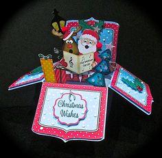 3D Xmas Santa & Rudolph Rubber Band Pop Up Box Card - Gallery | Craftsuprint