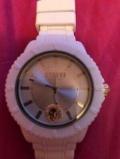 Versace Versus Watch with Silicone Strap Watch Luxury Versace. Versus Versace, Silver Man, Watch Brands, Quartz Watch, Bracelet Watch, Bling, Watches, Luxury, Women