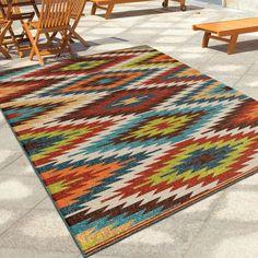 """Carolina Weavers Indoor/Outdoor Aztec Flagstaff Multi Area Rug (5'2"""" x 7'6"""")"""