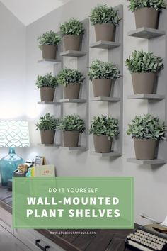 Build these SUPER SIMPLE wall-mounted plant shelves to display real or faux plants and create a plant wall. This weekend DIY project requires minimal supplies and makes a huge impact on any room. Floating Shelves Bedroom, Diy Wall Shelves, Plant Shelves, Shelving, Indoor Plant Wall, Indoor Plants, Wall Mounted Planters Indoor, Patio Plants, House Plants Decor
