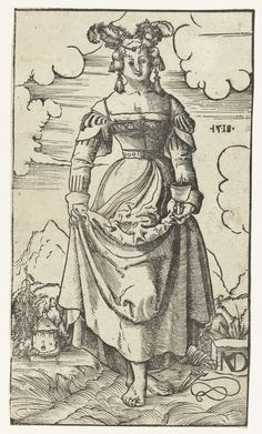 1518 Niklaus Manuel Deutsch, Wise virgin with burning oil lamp in landscape (Wijze maagd met brandende olielamp in landschap). As this is a biblical/allegorical scene, probably best NOT to use this image for historical costuming.