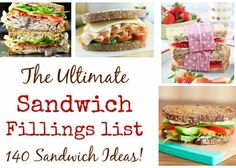 Looking for sandwich filling inspiration? Look no further, I& got over 140 delicious sandwich ideas and recipes for you - perfect for packed lunches! List Of Sandwiches, Delicious Sandwiches, Healthy Lunches For Work, Sandwich Fillings, Cooking Recipes, Healthy Recipes, Healthy Food, Food Hacks, Food Tips
