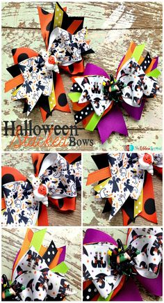 Learn how to make a stacked bow that is fun and festive. This bow is made with bright and adorable Halloween themed ribbon and adorned with a festive resin. Making Hair Bows, Diy Hair Bows, Diy Bow, Ribbon Hair, Bow Making, Ribbon Flower, Halloween Hair Bows, Halloween Crafts, Homemade Bows
