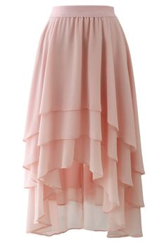 Macaron Pink Asymmetric Waterfall Skirt