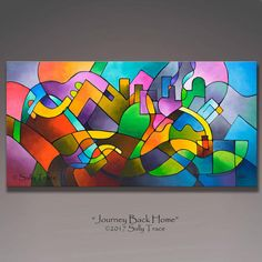 Large abstract painting original abstract painting geometric