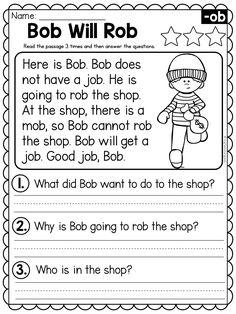 First Grade Worksheets, Phonics Worksheets, Reading Worksheets, Reading Comprehension For Kids, Reading Passages, Reading Skills, 1st Grade Writing, First Grade Reading, 1st Grade Math