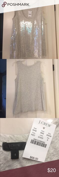 JCrew tank with sequence Lite Heather gray sequence tank. NWT Sz S J. Crew Tops Tank Tops