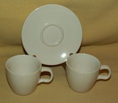 STARBUCKS MUG 2 ESPRESSO CUP 1 SAUCER WHITE AT HOME COLLECTION 2004 COFFEE 3 PC. #Starbucks