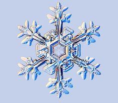 Un cristal typique contient environ 10puiss16 molécules d'eau. Le nombre de façons d'arranger ces molécules d'eau est quasi infini : il est donc presque impossible de rencontrer deux cristaux identiques. © snowcrystals.com