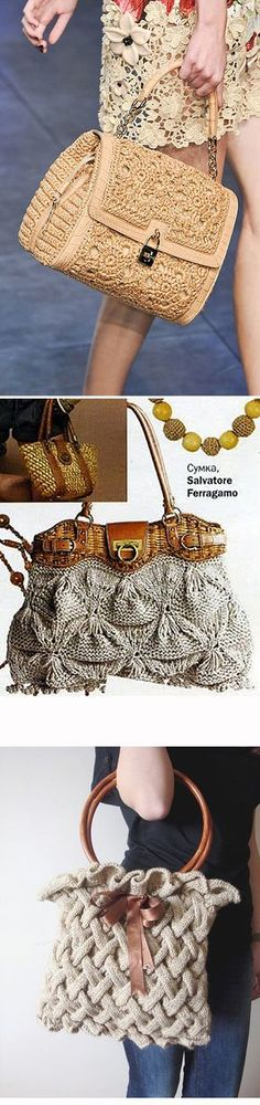 Вязаные сумки: богатство фантазии дизайнеров - Ярмарка Мастеров - ручная работа, handmade Bag Crochet, Crochet Handbags, Crochet Purses, Crochet Stitches, Crochet Hats, Leather Diy Crafts, Bag Pattern Free, Knitted Bags, Beautiful Crochet