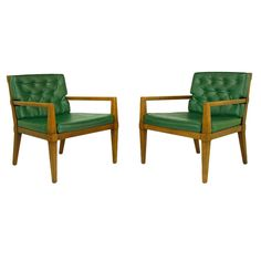 Pair Bert England For Baker Walnut Open Arm Lounge Chairs