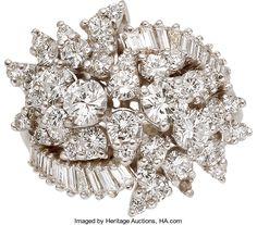 Estate Jewelry:Rings, Diamond, Platinum Ring, circa 1950. ...