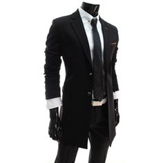 (JEH2-BLACK) Slim Fit Single Breasted 2 Button Half Coat