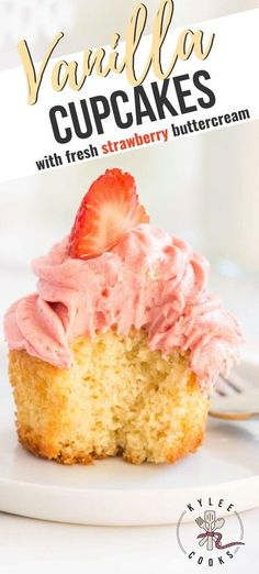These fluffy vanilla cupcakes with strawberry buttercream are so dreamy. A classic fluffy cupcake, that has fabulous flavor, paired with REAL strawberry buttercream. Drool! #vanilla #strawberry #cupcakes #buttercream #dessert #kyleecooks Easy Cupcake Recipes, Easy No Bake Desserts, Köstliche Desserts, Best Dessert Recipes, Delicious Desserts, Cupcake Ideas, Frosting Recipes, Dinner Recipes, Strawberry Buttercream