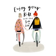 Bicycle couple Illustration for a new card design coming soon by Katy Pillinger Designs ©️2018 available on Etsy or www.katypillinger.com