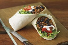 Try a Mexican-inspired dish with this Beef & Bean Burritos Grande recipe. The burritos grande are filled with beef, beans, cheese, sour cream & salsa. Mexican Dishes, Mexican Food Recipes, Healthy Recipes, Ethnic Recipes, Mexican Cooking, Top Recipes, Chili Recipes, Family Recipes, Healthy Foods