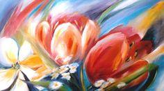 Tulpen - schilderij tulpen te koop betaalbaar holland nederland tulp tullip netherlands art gallery galerie kunstenaar bloemen acryl op doek