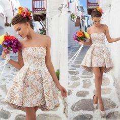Chic Short Prom Dresses A Line Strapless Lace Mini Backless Prom Dress Vestidos De Festa Vestido Longo Evening Dresses