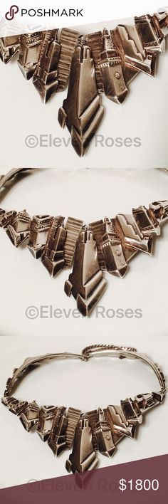 Sterling Skyline Skyscraper Statement Necklace Chicago Skyline Skyscraper Statement Collar /Necklace - 925 Sterling Silver - Weighs Approx 144 Grams - Hand Signed By Artist - A Very Unique Huge Statement Piece !! Artisan Jewelry Necklaces
