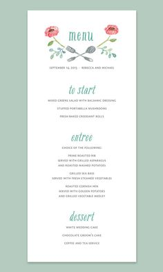 Watercolor Flowers Wedding Menu Card by LeveretPaperie on Etsy, $27.50