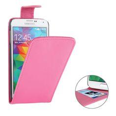 Vertical Leder Flip Case für Samsung Galaxy S5 / i9600 Pink
