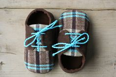 Brown and blue plaid baby boy shoes, corduroy oxfords sneakers crib booties, little man shoes, infant slippers