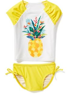 Pineapple-Graphic Rashguard Swim Set for Toddler