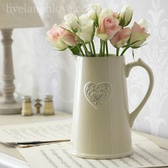 Large Embossed Heart Ceramic Jug - White, from live laugh love,country kitchen accessories Cream Kitchen Accessories, Shabby Chic Accessories, Cream Country Kitchen, Shabby Chic Gifts, Kitchen Plants, Clotted Cream, Interior Design Living Room, Room Interior, Paint Colors For Living Room