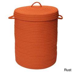Braided Rust Orange Lidded Storage Laundry Blanket Toys Hamper New Free Shipping