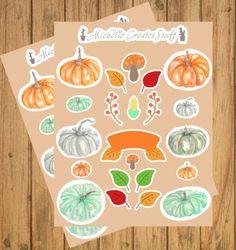 2 Pack Fall Stickers, Planner Stickers, Pumpkin Spice, Watercolor Pumpkin, Pastel Fall, Fall Sticker