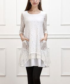 Look what I found on #zulily! White Floral-Lace Hi-Low Tunic by Reborn Collection #zulilyfinds