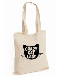Crazy Cat Lady FASHION COTTON TOTE TUMBLR SWAG FUNNY CAT LOVER KITTEN (CAT, BAG) | eBay