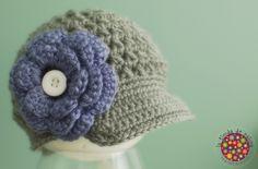 Crochet baby hat - Baby Photo Prop - Newsboy Beanie Brimmed Cap - Newborn Photo Prop - Detachable flower - Made to order