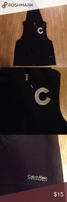 Upcycled hoodie Calvin Klein up cycled hoodie has a racer back with the letter c on the front Calvin Klein Jackets & Coats