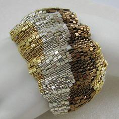 Wide Corrugated Mixed Metals Color Ribbon Peyote Cuff by Carol Dean Sharpe