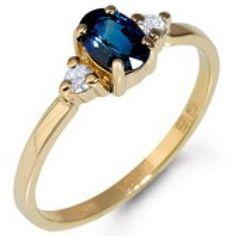 Geelgouden ring saffier en 0,08crt R01-46078-SA