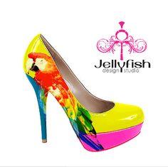 6 Inch Stiletto High Heel Shoes w/ Parrot design