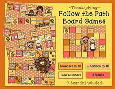 Practice basic math skills with these festive Follow the Path Boards. 7 boards are included: 3 blanks (can be laminated and used for any subject) 2 Addition to 10 1 Numbers to 10 1 Teen Numbers