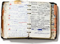 Sketchbooks of artists, writers, makers, and thinkers. : shown: Nick Cave's handwritten dictionary of words