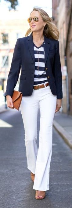 fashion revival mid rise high waisted white flare leg jeans, brown braided belt, brown peep toe bootie mules, navy and white wide stripe v-neck burberry t-shirt tee with pocket, navy blazer. Love white pants with blazers 70s Fashion, Work Fashion, Womens Fashion, Fashion Trends, Ladies Fashion, Cheap Fashion, Daily Fashion, Winter Fashion, Fashion Dresses