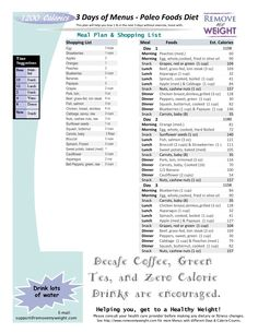 printable 1000 calorie paleo diet for 6 days or less grocery list included menu